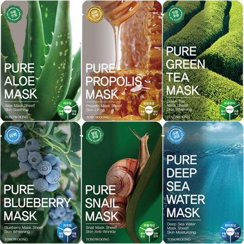 Pure Mask Pack (Aloe / Propolis / Green Tea / Blueberry / Snail / Deep Sea Water)